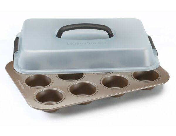 Simply 12 Cup Non-Stick Covered Muffin Pan by Calphalon
