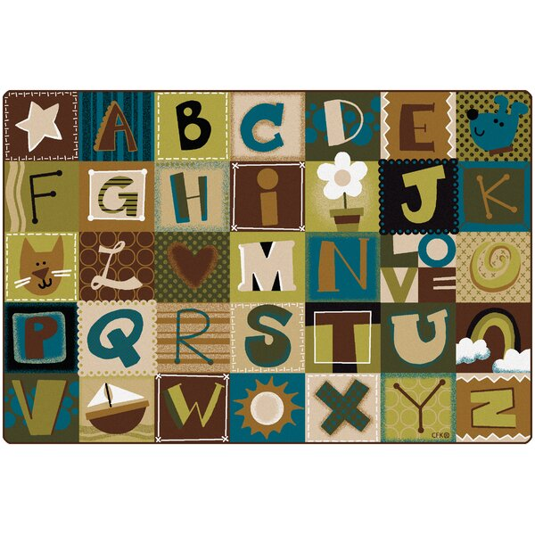 Toddler Alphabet Blocks Nature Area Rug by Carpets for Kids Premium Collection