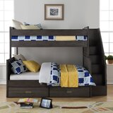 Staggs Twin Over Full Bunk Bed with Bookcase and Drawers byHarriet Bee