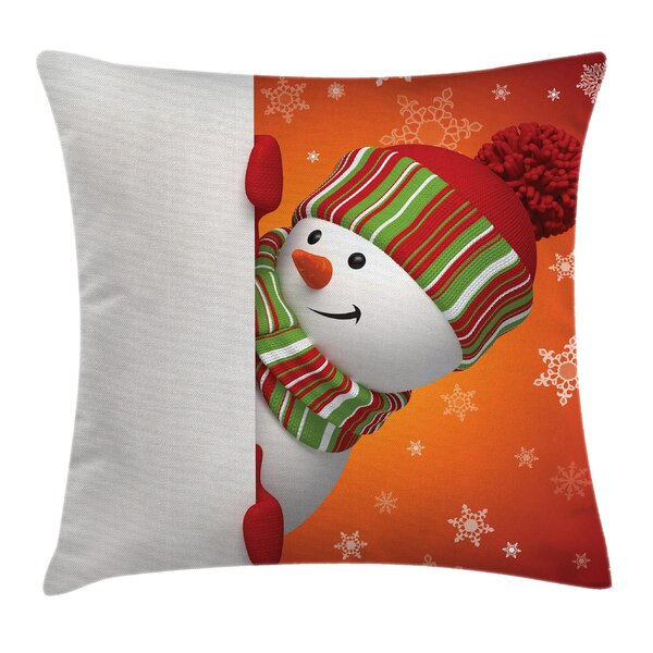 Christmas Funny Snowman Santa Square Pillow Cover by East Urban Home