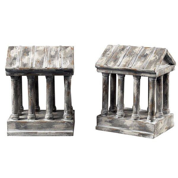 Aged Colum Book Ends (Set of 2) by Astoria Grand