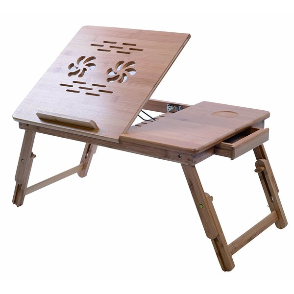 Bamboo Adjustable Tray Table with Tilting Top Drawer by Melange