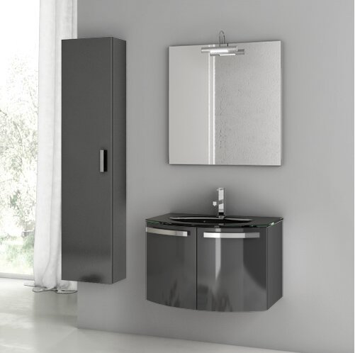 Crystal Dance 30 Wall-Mounted Single Bathroom Vanity Set with Mirror by ACF Bathroom Vanities