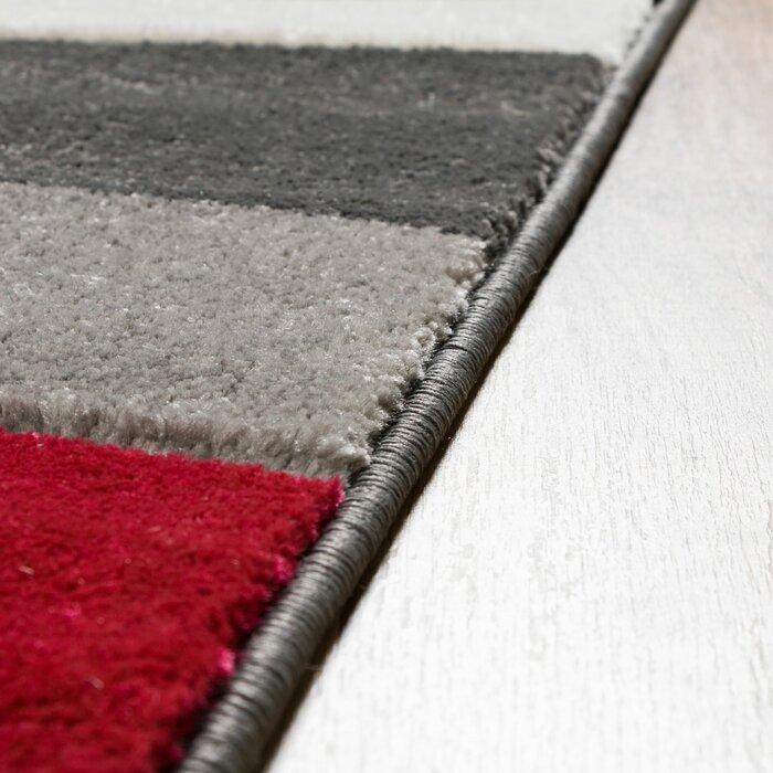 Rad Wave Red Grey Black Area Rug