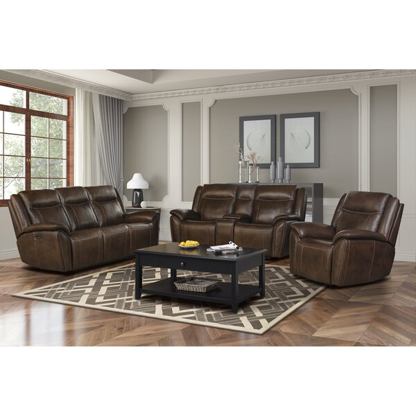 Holbrook Leather Reclining Configurable Living Room Set by Red Barrel Studio