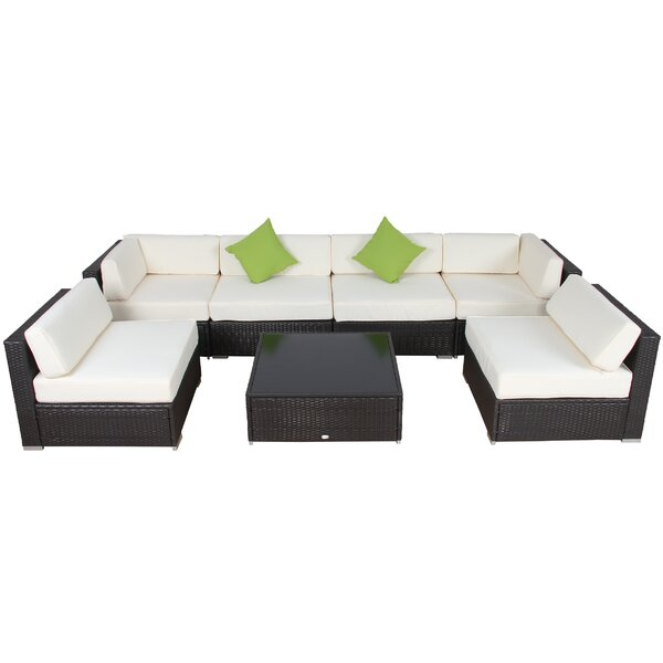 Smithville 9 Piece Rattan Sectional Seating Group with Cushions by Ivy Bronx