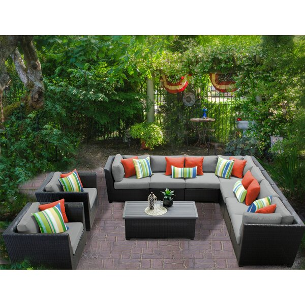Medley 10 Piece Rattan Sectional Seating Group with Cushions by Rosecliff Heights