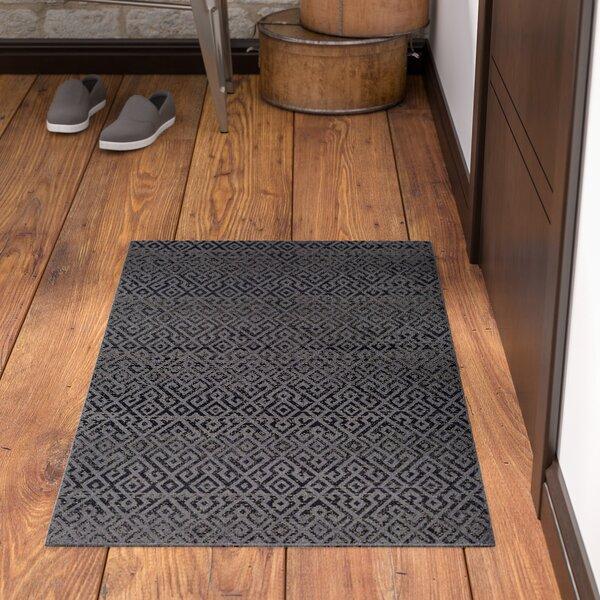Waller Pavers Black/Gray Indoor/Outdoor Area Rug by Ebern Designs