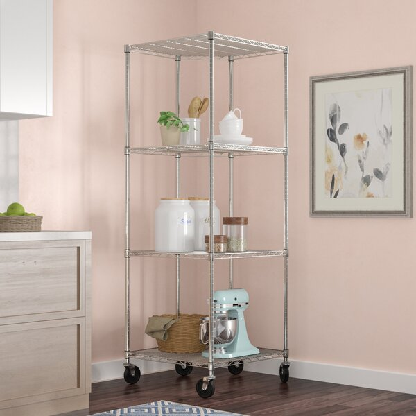 NSF Corner Wire Wheeled Corner 77 H 4 Shelf Shelving Unit Starter by Rebrilliant