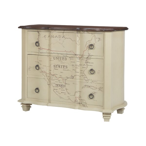 Martina Map of Americas 3 Drawer Accent chest by August Grove