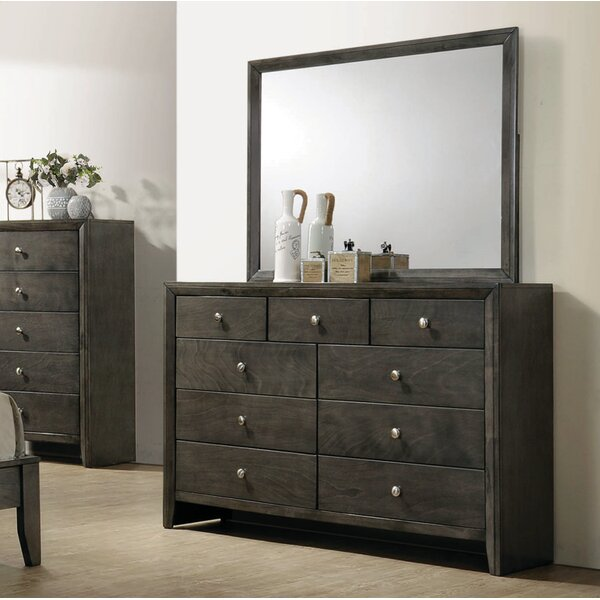 Winfrey 9 Drawer Dresser with Mirror by Foundry Select