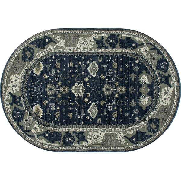 Castellano Navy Blue/Cream Area Rug by Charlton Home
