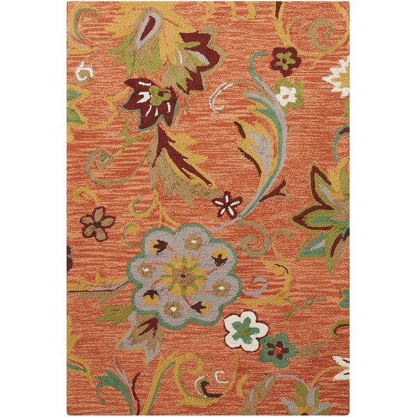 Sibley Orange/Green Area Rug by Alcott Hill