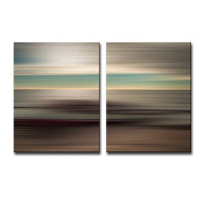 'Blur Stripes XLI' 2 Piece Graphic Art on Canvas Set by Ready2hangart