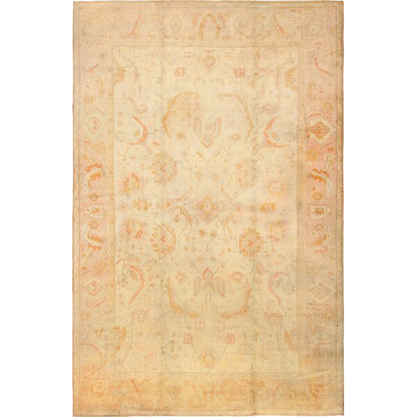 One-of-a-Kind Turkish Hand-Knotted 1900s Cream 12'8 x 19'7 Wool Area Rug