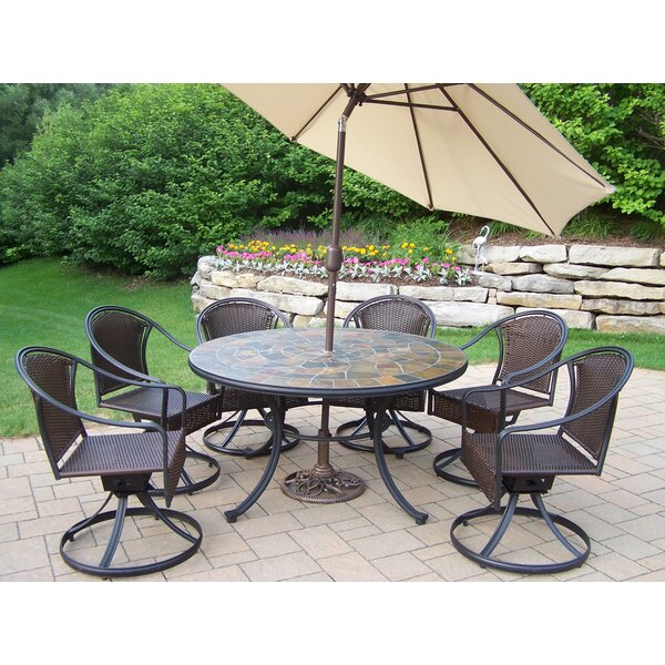 Tuscany Stone Art Dining Set with Umbrella by Oakland Living