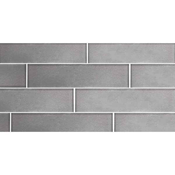 Secret Dimensions 3 x 12 Glass Subway Tile in Glossy Silver by Abolos