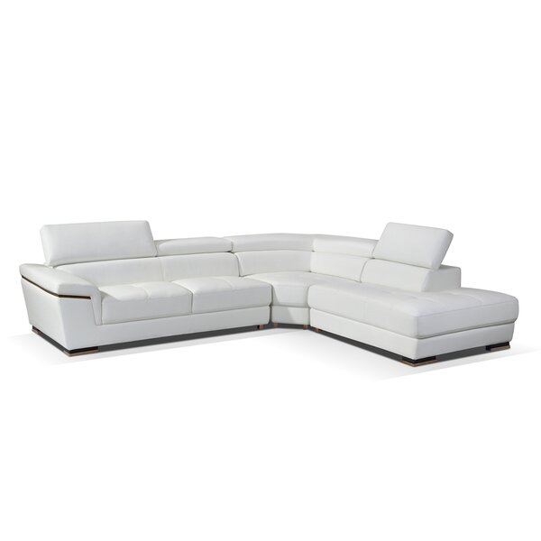 Duron Leather Left Hand Facing Sectional By Orren Ellis