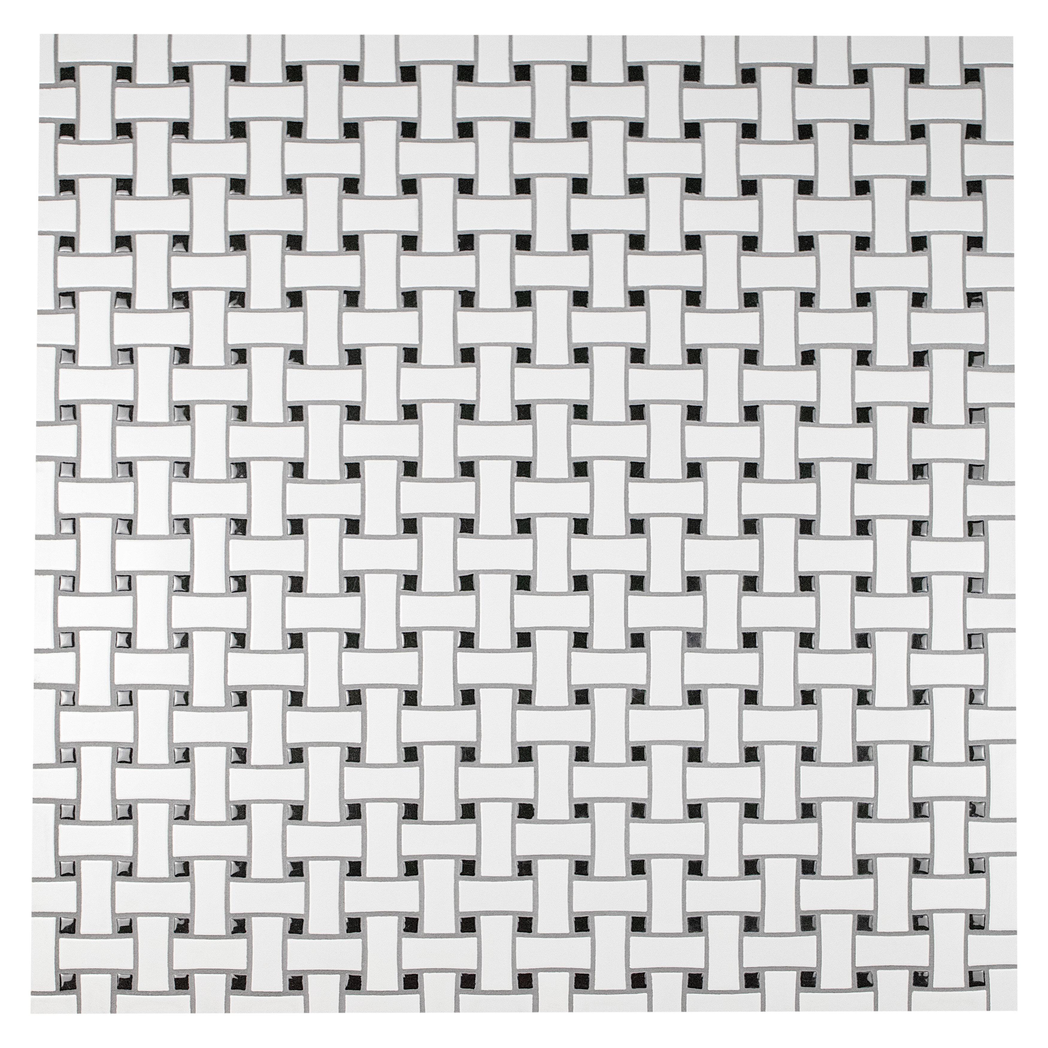 EliteTile Retro Basket Weave Random Sized Porcelain Mosaic Tile in ...