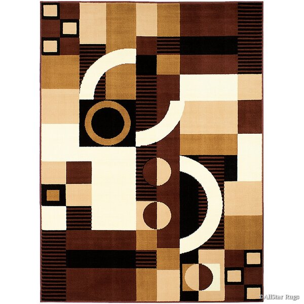 Burris Geometric Brown Area Rug by Ebern Designs