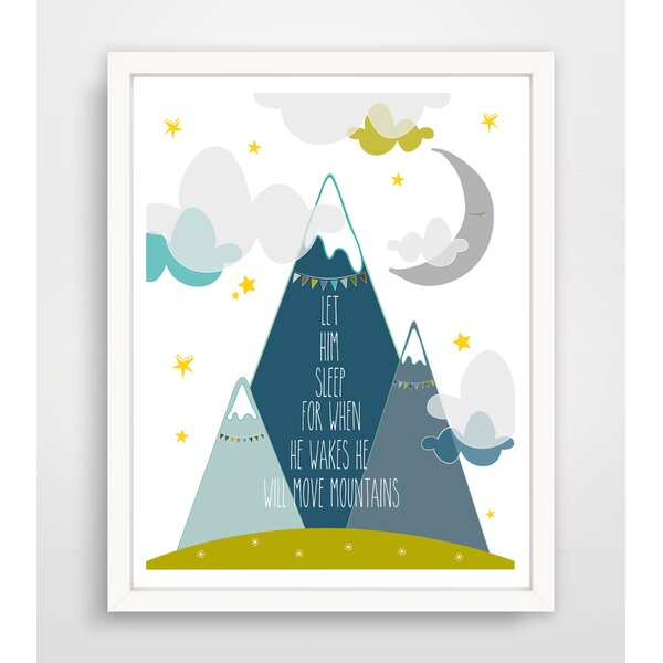 Let Him Sleep for When He Wakes He Will Move Mountains with Colored Clouds Paper Print by Finny and Zook