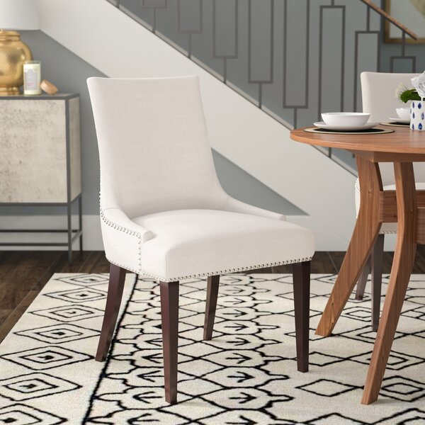 Alpha Centauri Upholstered Side Chair in Linen - Gray Zebra by Brayden Studio