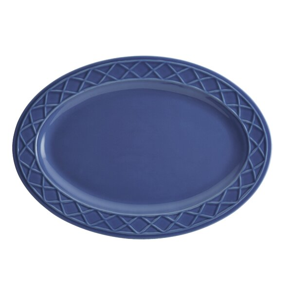 Savannah Trellis Stoneware Oval Serving Platter by Paula Deen