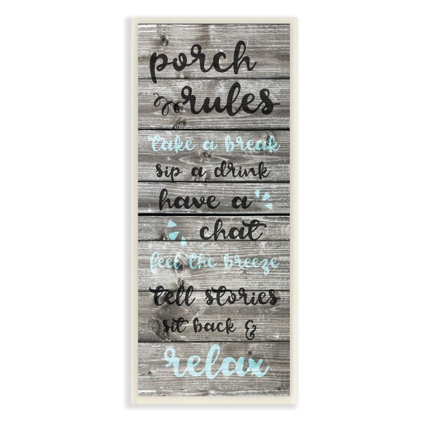 Porch Rules Rustic Blue Sit Back and Relax Textual Art by Stupell Industries