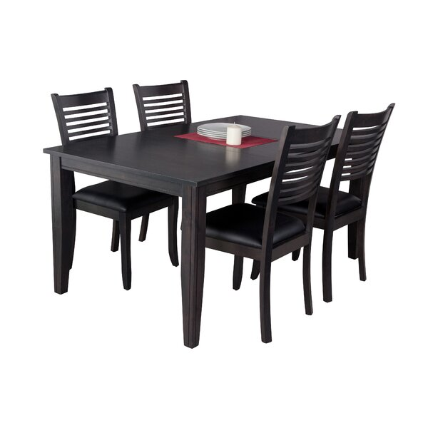 Haan Traditional 5 Piece Solid Wood Dining Set by Red Barrel Studio
