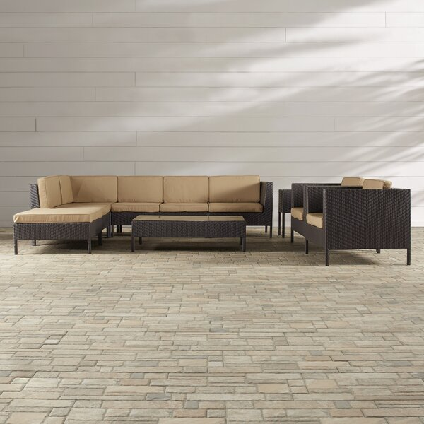 Alrai 9 Piece Rattan Sectional Set with Cushions by Brayden Studio