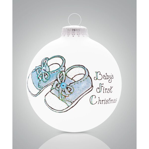 Baby Boy Booties Ball Ornament by The Holiday Aisle