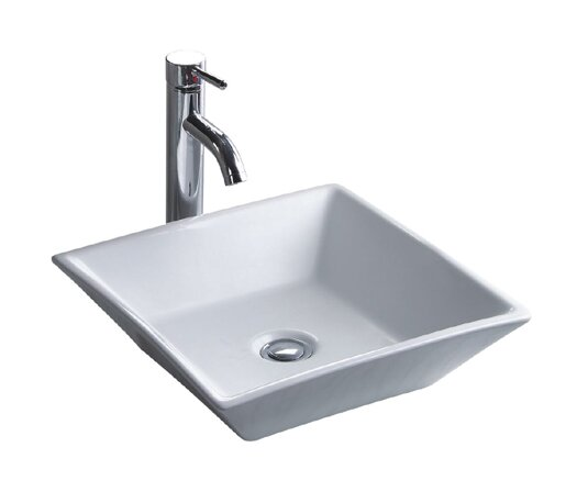 China Luxe Ceramic Square Vessel Bathroom Sink by Wells Sinkware
