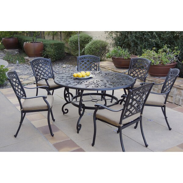 Cheviot 7 Piece Dining Set with Cushions by Fleur De Lis Living