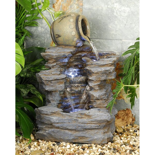 Resin Spilling Jug Cascading Fountain with LED Light by Wildon Home ®