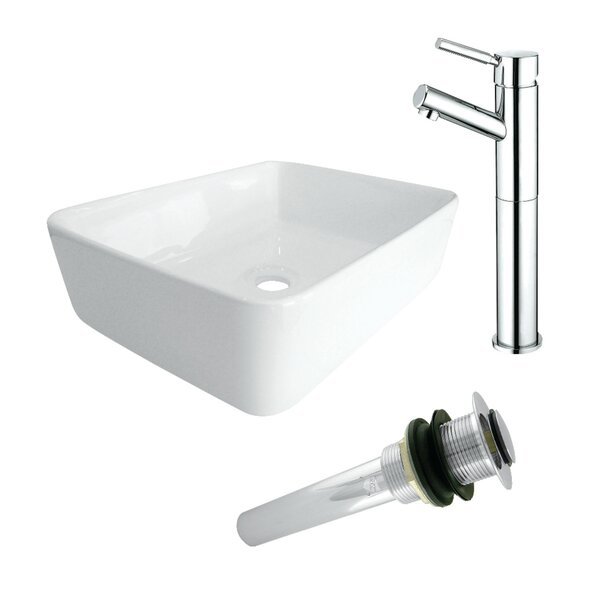 Perfection White Ceramic Square Vessel Bathroom Sink with Faucet