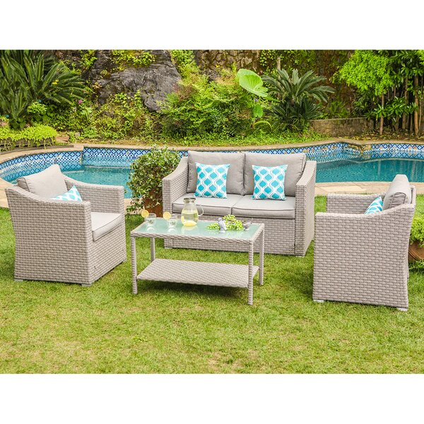 Gosser 4-Piece Rattan Sofa Seating Group with Cushions by Highland Dunes
