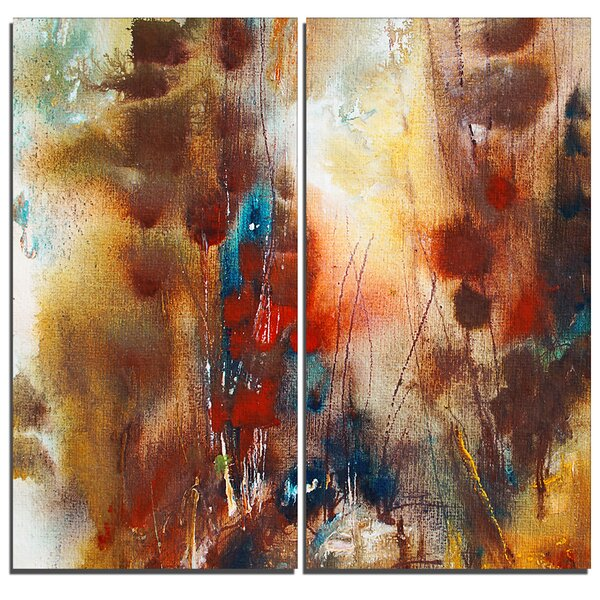 Artistic Brown Abstract 2 Piece Graphic Art on Wrapped Canvas Set by Design Art