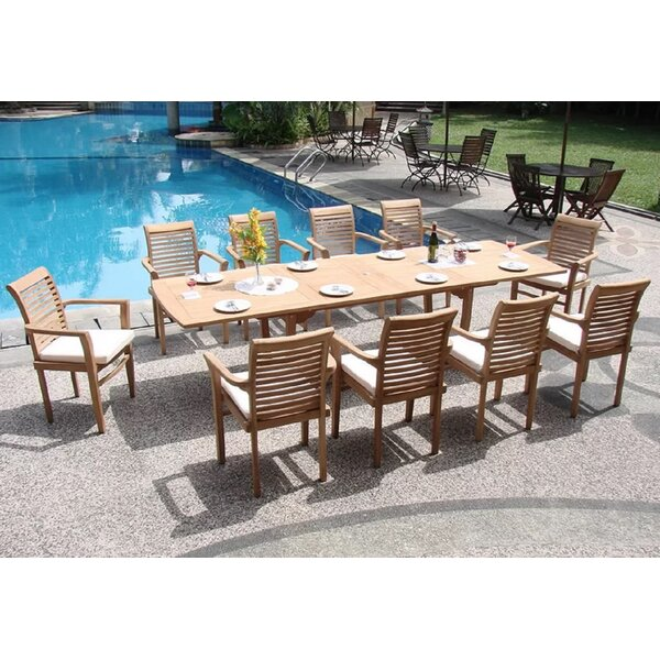 Farnsworth Luxurious 11 Piece Teak Dining Set by Rosecliff Heights