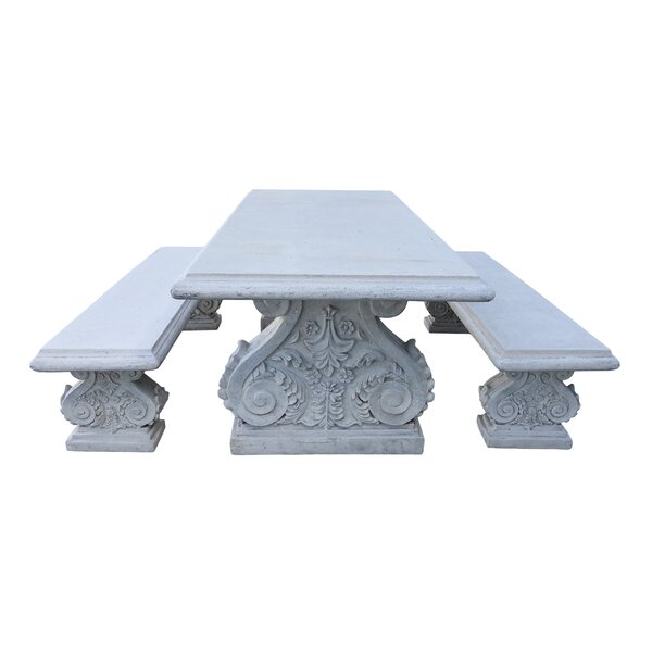 2 Piece Classic Acanthus Stone Garden Bench Set by One Allium Way