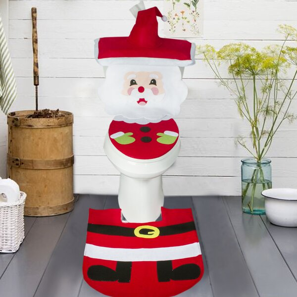 Merry Santa Clause Bathroom Christmas Decoration Toilet Seat Cover U-shaped 2 piece Bath Rug Set