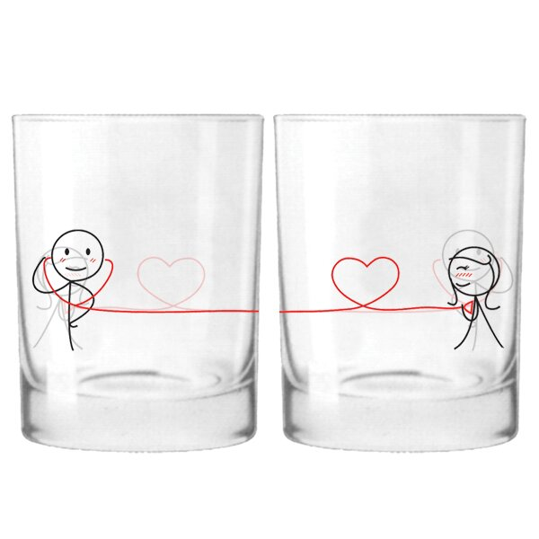 My Heart Beats for You Couple 12 oz. Drinking Glass (Set of 2) by BoldLoft