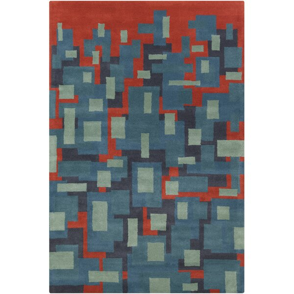 Burns Patterned Contemporary Wool Blue/Orange Area Rug by Wrought Studio