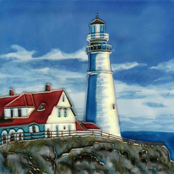 Light House On A Rock Tile Wall Decor by Continental Art Center