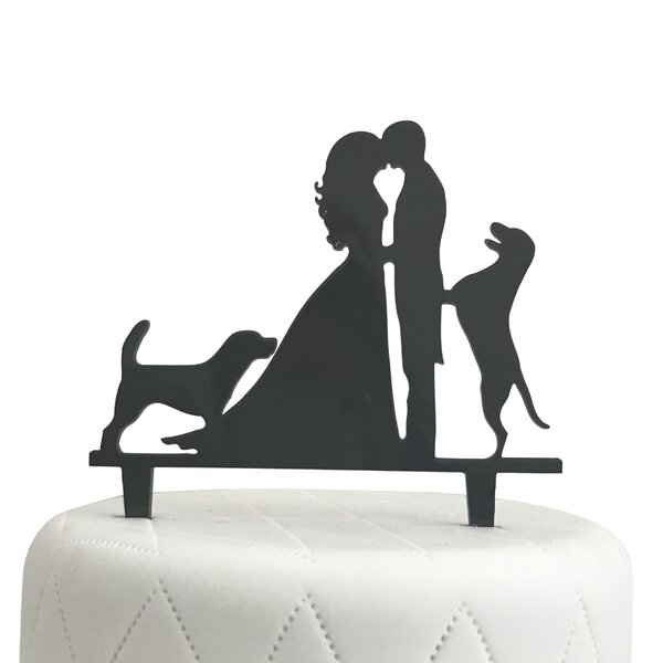 Bride, Groom and Two Dogs Silhouette Acrylic Cake Topper by Unik Occasions
