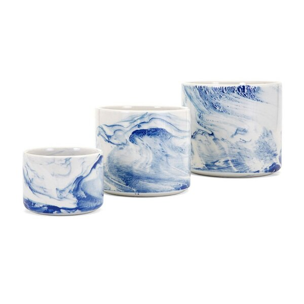 Chilcompton Faux Marble 3-Piece Ceramic Pot Planter Set by Ivy Bronx