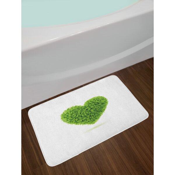 Heart Green Bath Rug by East Urban Home