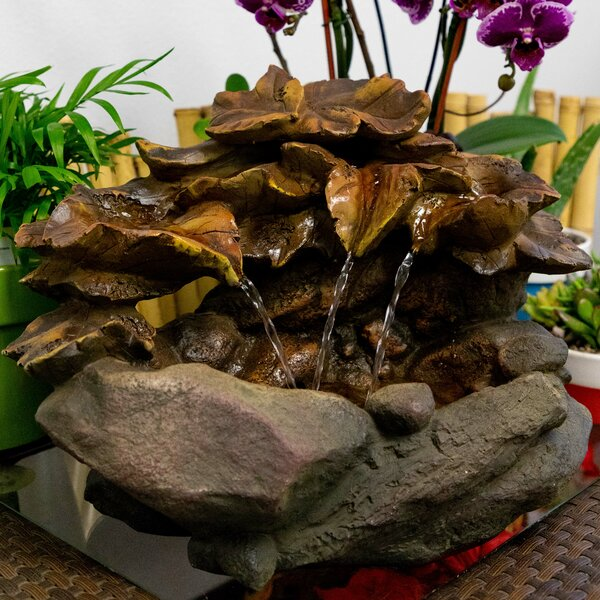 Polystone/Fiberglass 2 Tier Fountain with LED Light by Alpine