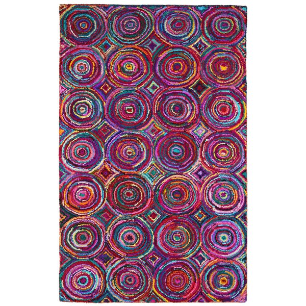 Brilliant Ribbon Hand Woven Cotton Purple/Red/Blue Area Rug by St. Croix