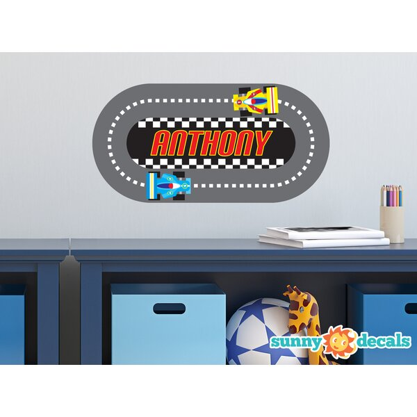 Racing Track with Custom Name Wall Decal by Sunny Decals