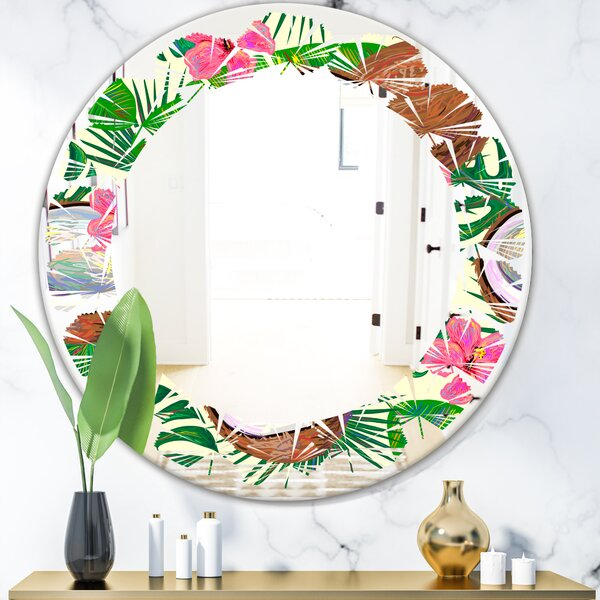 Leaves Tropical Cooconut and Jungle Flowers Coastal Frameless Wall Mirror